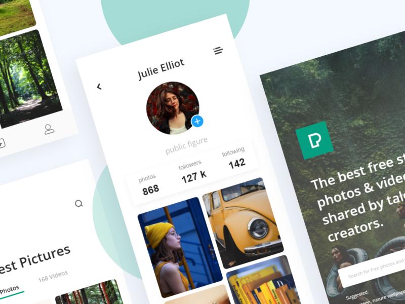 Free stock photos app - Pexels; ux ui clean minimal app  design color unsplash pexels stock free images app