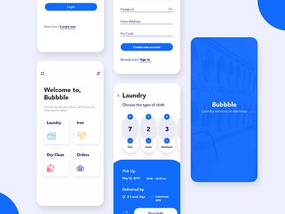 Bubbble laundry concept blue cloth laundry minimal android ux animation app  design best app ux ui app