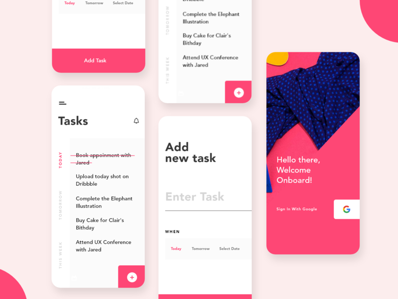 Task app interface design dailyui color clean branding pink art abstract minimal task design app typography ux ui flat  design flat concept