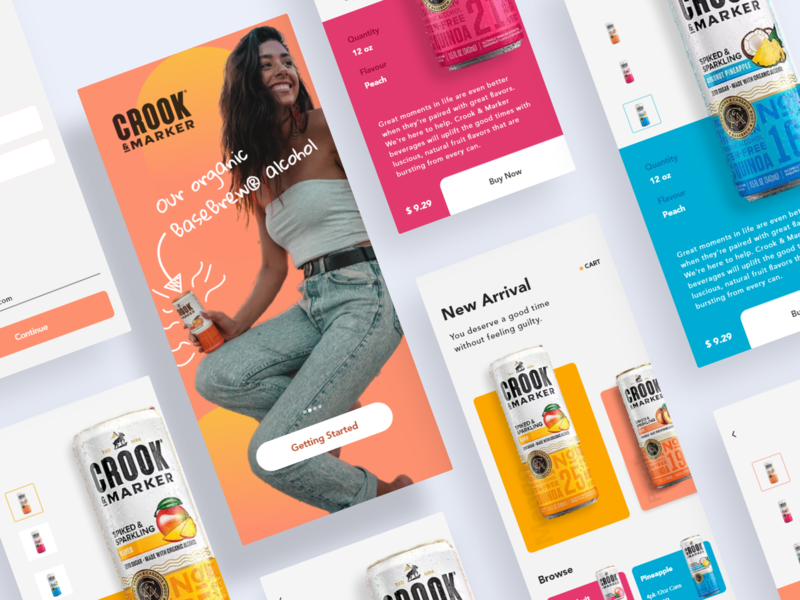 Crook & Marker | Be Unbound - shot 15/50 concept color abstract organic ecommerce shopping alcohol beer flatdesign clean minimal flat app ux typography branding ui design