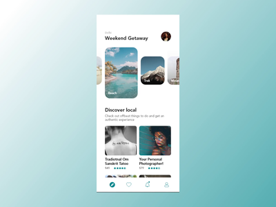 Weekend Getaway II interaction motion animation clean ui ux abstract app travel app travel flatdesign flat typography icon color minimal branding