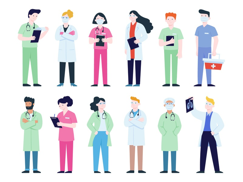 Doctors Illustrations stay home workfromhome covid19 character cold lungs infection corona virus coronavirus stayhome staysafe doctors doctor 19 covid covid-19 flat vector illustrator illustration