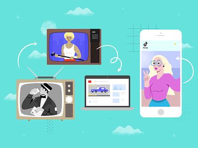 The Evolution Of Video Advertising old fashioned youtube tik tok examples first ads best ads flat television tv vintage illustrator apple illustration designer design ads marketing advertising video evolution