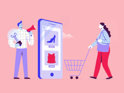 Ecommerce Strategy Illustration telephone device mobile cart creative creativity idea strategy marketing shop pink graphic designer design online shopping ecommerce business illustrator illustration