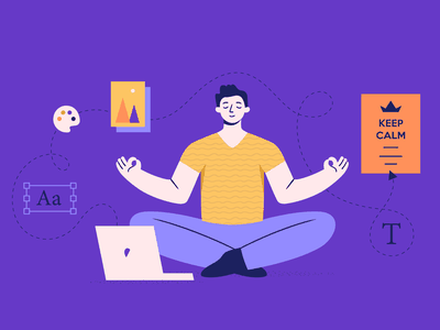 Keep Calm Illustration character man marketing digital peace edit purple palette creative app bannersnack business free free templates illustrator poster illustration keep going keep calm and carry on keep calm