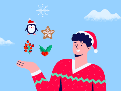 Christmas Content Illustrations winter holiday cookie gingerbread mistletoe penguin snowflake tis the season greetings card business smile funny character festive designer greaphic illustrator illustration