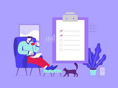 Marketers Answer Illustration to do list creative productive advice tips business flat digital tea productivity boost entreprenour cat holidays winter design graphic adobe illustrator illustration