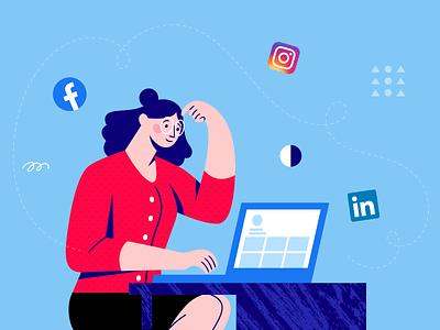 Social Media Design Tips Illustration combination color study brand red blue tips media social linkedin instagram facebook branding flat character business marketing vector design illustration