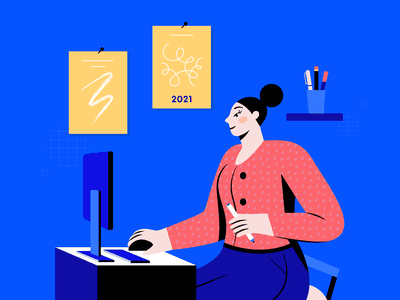 Digital Creative In 2021 Illustration freelance digital pen screen yellow red advice tips blue patterns graphic designer woman female creativity creative adobe design illustrator illustration