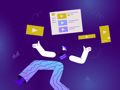 Types of Video Banner Ads Illustration business marketing blue colorful colors neon gradient lines pattern designer graphic advertisement video juggler creatopy brand youtube ads illustrator illustration video banner