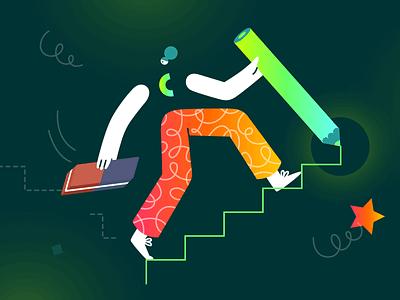 Rebranding Design Illustration digital visual transformation brand business eraser orange green doodle illustrator draw erase rebrand stairs create neon gradient creatopy illustration rebranding