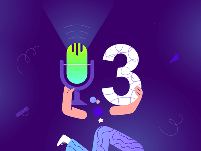 Podcast Announcing Season 3 Illustration geometric character woman star microphone design designer graphic creative creatopy doodle pattern colors neon blue illustrator adobe illustration season podcast