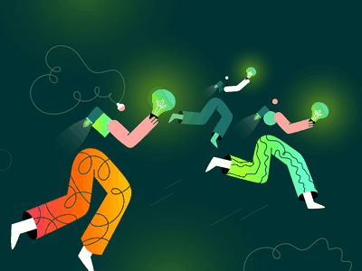 Dribbble Playoff Illustration doodle brand business lines creativity creative flying winners creatopy style gradient colors neon illustration designer graphic art competition payoff dribbble