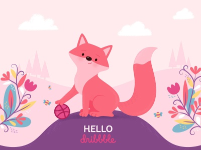 First Shot #HelloDribbble children illustrator hellodribbble dribbble hello debutillustration debutdesign debutshot debut pink cute fox vector design illustration