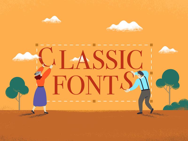 Classic Fonts Illustration