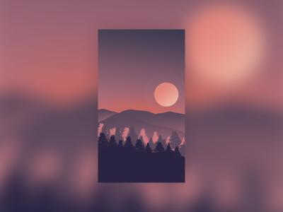 插画-日落
