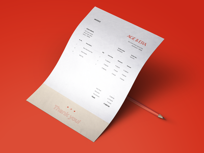 Invoice Design for Age & Era design minimal graphic graphic design brand design branding stationery invoice design invoice