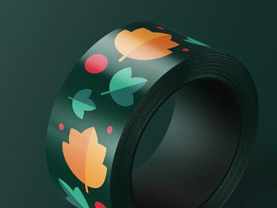 Printed Duct Tape for Cafe Oktober cafe branding graphics graphic design brand design branding duct tape pattern design print pattern