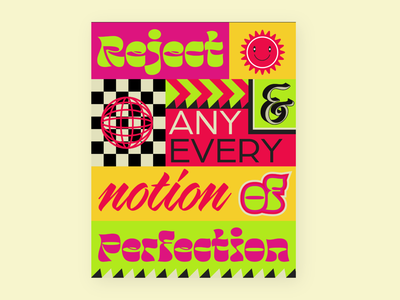 F*ck Perfectionism quote art colorful memphis design memphis poster design poster a day poster art posters poster perfection
