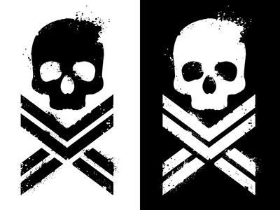 Pyxl Underground black white logo skull grunge spatter negative space positive space stencil