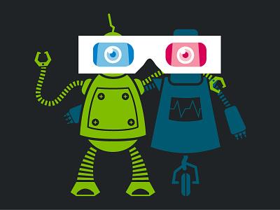 Pyxl SHAR3D Robots robots 3d glasses green blue illustration clamp wheels cyclops