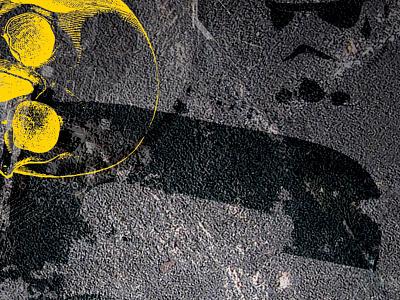 "Pyxl Business Card Cover Design - ""Cr"" black yellow pavement stormtrooper skull grunge"