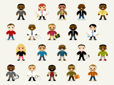 Little Characters characters people diversity illustration caucasian black asian indian doctor beard hair occupation