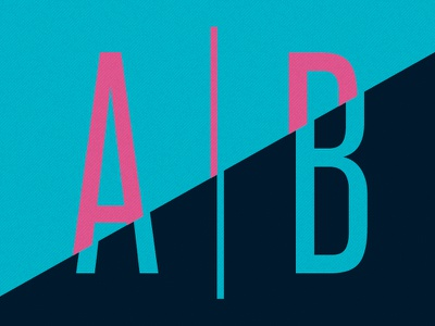 A | B pink blue aqua teal a b line diagonal half split testing