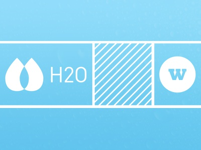 H2O h2o blue water white drop w diagonal lines