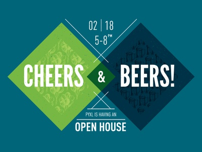 Cheers & Beers blue green balloons beer diamond lines white overlay multiply invitation