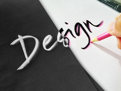 Design paper handwriting ink marker colored-pencil pink white black calligraphy typography hand-lettering design