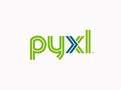 Pyxl Logo movement dynamic roads path double x lines forward logo arrow blue green