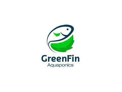 Greenfin Logo aquaponics fish logo leaf logo green logo illustration vector logo branding logo design
