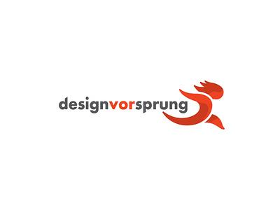 DesignVorSprung orange logo running design agency logo running man running logo vector logo logo design