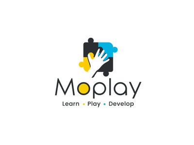 MoPlay illustration branding logo design hand logo puzzle logo playful kids logo play logo