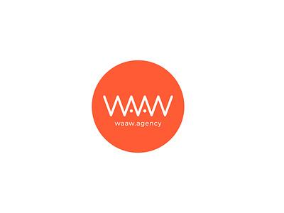 WAAW Agency logo illustration branding vector logo typogaphy orange logo circle logo minimalist logo design