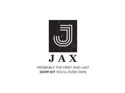 Jax grunge font flat  design j letter logo dopp kit logo
