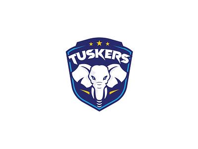 Tuskers Sports Academy sports logo emblem drawing elephant logo elephant tusker illustration vector logo logo design