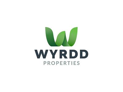 WYRDD logo properties logo green logo leaves logo leaves leaf illustration vector logo logo design