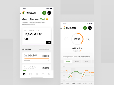 PARADAIS - Mobile App ux ui product fintech b2c saas bank money app design interface dashboard