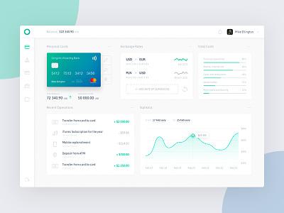 Oniblue - Dashboard ui ux rates money bank statistics interface graph dashboard fireart studio fireart