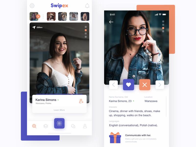Swipex - Application for Acquaintances ui ux network dating application mobile swipe cards app fireart studio fireart
