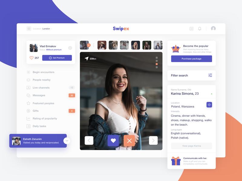 Swipex - Dashboard ux ui user swipex social network network dating card dashboard fireart studio fireart