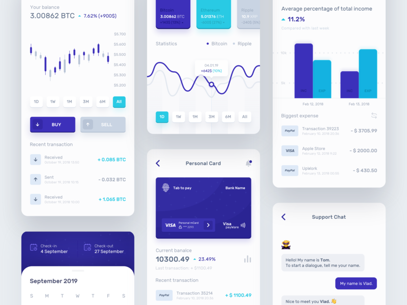Owner Bank - Application ui ux ecommerce money design bank interface statistics product data crypto wallet crypto currency bitcoin progress profile mobile icons dashboard app