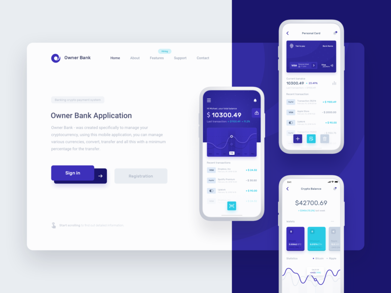 Owner Bank - Promo landing page promo ui ux header cryptocurrency interface ecommerce project money design bank statistics app dashboard product blockchain