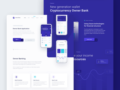 Owner Bank - Landing Page rates mobile card graph ecommerce ui ux interface money statistics app product cryptocurrency bank onepage landingpage homepage data dashboard chart