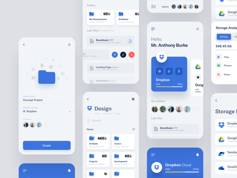 Storages Management - App 2 ui ux data card mobile ecommerce projects statistics box dropbox google design app management storages product design product dashboard interface