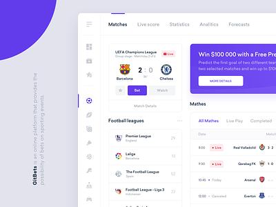GitBets - Betting Platform ux ui design statistics product interface score ticket sport football bookmakers bets bet admin dashboard