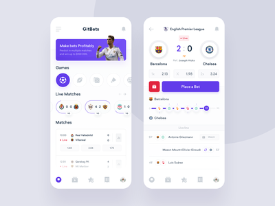 GitBets - Application ux ui design statistics product interface ticket sport football bookmakers bets bet dashboard app