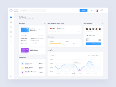 Gringo Bank - Dashboard ux ui project toglas money statistics design interface dashboard bank admin
